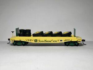 "HO Scale 40' Flat Car With Tire Load ""John Deere"" Tractors Custom"