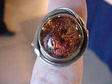 (#DR6.5-18) Size 6.5 DICHROIC GLASS Sterl SILVER RING BROWN ORANGE
