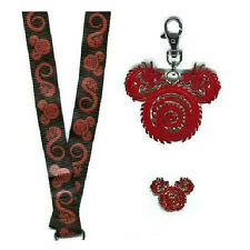 3-SET RED DRAGON MICKEY MOUSE ICONS Disney Pins Lanyard Medal Asian 2006 NEW