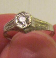 Antique Diamond 14kt. White Gold Art Deco 1930's Ring-Size 6 - 1.2 Grams- 2.8 mm