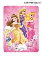 "Blanket Fleece 46""x60"" Disney Princesses Rapunzel Aurora Belle Flower NEW"