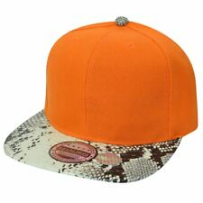 Blank Plain Faux Snake Print Orange Solid Flat Bill Snapback Hat Cap Constructed