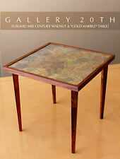 SUBLIME! MID CENTURY MODERN WALNUT CLUB TABLE! GOLD MARBLE ATOMIC 50'S EAMES VTG