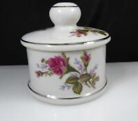 Vintage Porcelain Ceramic Pink Rose Flowers Trinket Box Chase Japan Jewelry Box