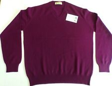 """Glen Oak V Neck 2 ply pure cashmere pullover sweater pullover top 44"""" Wine"""
