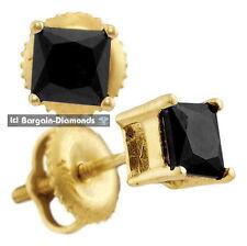 black diamond 1.0 carat 14K gold unisex stud earrings screwback men