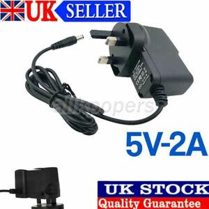5V Volt 2A Main Power Supply AC/DC Adapter 3 Pin Black UK Plug Charger UK