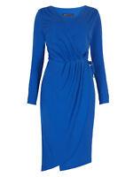 Ex M&S Blue Asymmetric Drape Wrap Midi Dress 6 - 20 Stretch