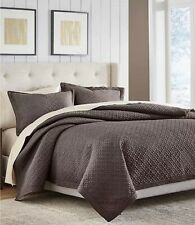 Croscill Fulton Chocolate Brown 100% Polyester King Quilt Coverlet $250