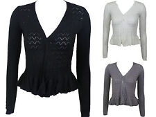 New Imported Women Ladies Long Sleeve Knitted Peplum Frill Blazer Cardigan Shrug