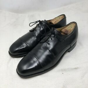 Johnston Murphy Aristocraft Mens Black Leather Cap Toe Shoes Size 10D Made USA