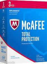 McAfee TOTAL PROTECTION 2018/2017 - 1Year Subscription -3 PCs(Only for PC)