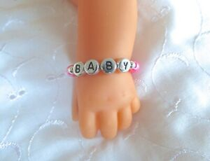 """ANY NAME PERSONALISED DOLLS NAME BRACELET FOR BABY BORN ANNABELL REBORN 15-19"""""""