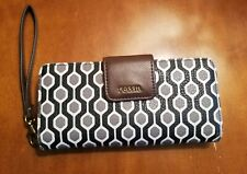 Fossil Zip Around Women's Leather Wallet With Strap, Patterned EUC