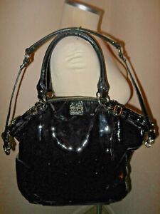 Coach Madison Lindsey Patent Leather Handbag Black Large 18627
