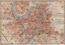 VERONA antica CITTA 'CITY Pianoforte piano urbanistico. ITALIA MUNDI. BAEDEKER 1906