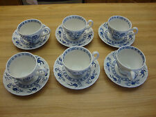 6 CUPS & 6 SAUCERS BLUE NORDIC J&G MEAKIN MADE IN ENGLAND CLASSIC PLATES