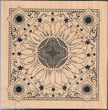 Papermania floral design rubber stamp on wood wooden block