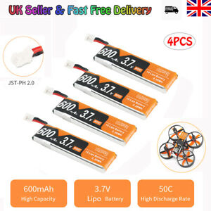 4Pcs 600mAh LiPo Battery 1S 3.7V 50C JST-PH 2.0 PowerWhoop mCPX Connector for RC