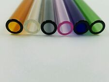 "6 Piece of 8""  Glass Pyrex Blowing Tubes 12 mm OD Thick Wall Tubing Colored Tube"