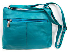Genuine Leather Small Day Purse Shoulder Cross Body Slim Light TEAL-BLUE GREEN