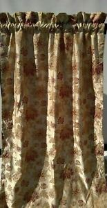 """Croscill Floral Curtain Drape (1) Panel Lined Maroon & Tan Floral 41"""" x 87"""""""