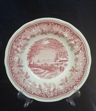 """SPODE RED WINTER'S EVE RIMMED SOUP BOWL 9"""" PINK ENGLAND NEW"""
