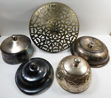 Vtg Lot Of 5 Antique Silverplate Lid Collection Pots Butter Dish Covers Bowls