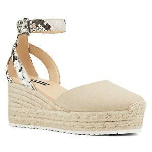 NEW Nine West Audra snakeskin Espadrille Wedge Sandal heel shoe Womens Size 8