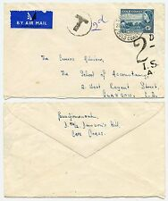 GOLD COAST UNSEALED BY AIRMAIL RATE POSTAGE DUE to SCOTLAND