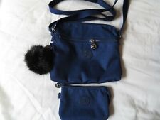 Cotton Indigo Blue Kipling Foxwell Duo Premium Crossbody Bag & Purse - New