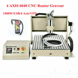 USB 4 Axis 6040-1500w 1.5KW VFD CNC Router Engraving Milling Machine +Remote