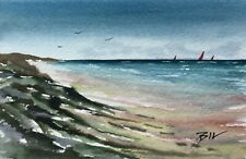 6 x 4 inch Signed Original Painting ' Sea from the Beach ' by Bill Lupton