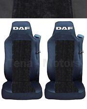 2x DAF XF105 XF 105 CF (LF) Fundas DE Asiento A medida Logo Camión Negro / LUX