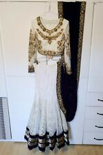 White, Gold & Purple LenghaCholi Indian Party Wear Lehenga Choli Pakistani Sari