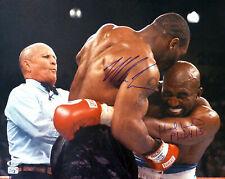 MIKE TYSON & EVANDER HOLYFIELD AUTOGRAPHED 16X20 PHOTO BITE FIGHT BECKETT 155788