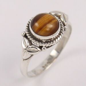 Natural TIGERS EYE ring 925 Sterling Silver Round stone Ring size US 4 to 10