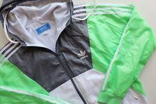Vintage Adidas Originals windbreaker hooded shell jacket | L | Grey white green