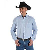 WRANGLER George Strait Mens Blue White Long Sleeve Button down Shirt MGSB378 NWT