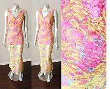 Ombre Lace Sheer Layering Mermaid VIntage Cocktail Party Pink Yellow Dress M