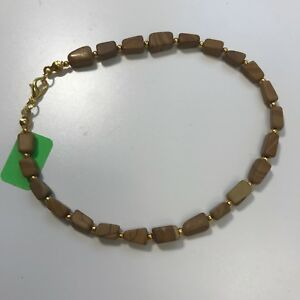 Handmade Ankle Bracelet of Landscape Jasper Stone Nuggets and Gold Tone Spacers