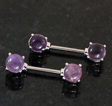 """Pair 14G 9/16"""" Prong Set Amethyst Semi Precious Stone Nipple Bar Rings"""