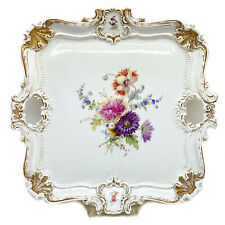 Large Meissen Germany Porcelain Hand Painted Square Serving Tray, Floral Designs