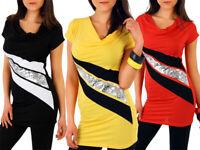 Nouveau pour Femmes Multicolore Tunique avec Paillettes Motifs Drapé Robe