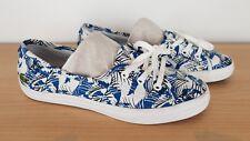 Lacoste Ladies Ziane Chunky Fun Blue Black Canvas Flats Pumps Shoes, UK 4 EU 37