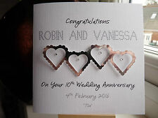 Modern Handmade Personalised Tin 10th Wedding Anniversary Joined Hearts Card