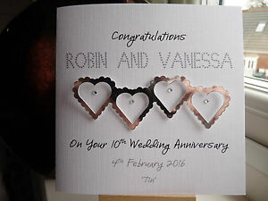 Personalised Tin 10th Wedding Anniversary Card Special Couple Husband Wife