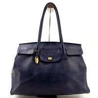 TOFF & LOADSTONE Vintage Leather Large Tote Top Handle Bag in Dark Blue - Y2K
