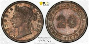 Straits Settlements QV silver 20 cents 1894 about uncirculated PCGS AU cleaned
