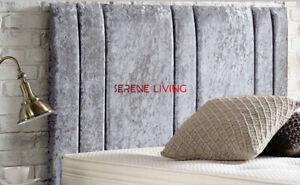 "BED HEADBOARD FOR DIVAN BEDS CRUSHED VELVET 20"" HEADBOARD - ALL SIZES & COLOURS"